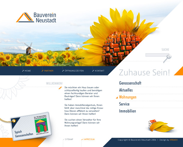 Bauverein-Neustadt, main page with animation and music.