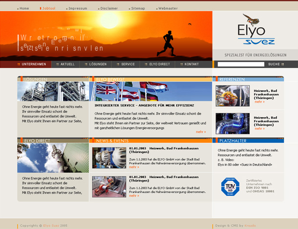 Elyo Suez, main page with animated header