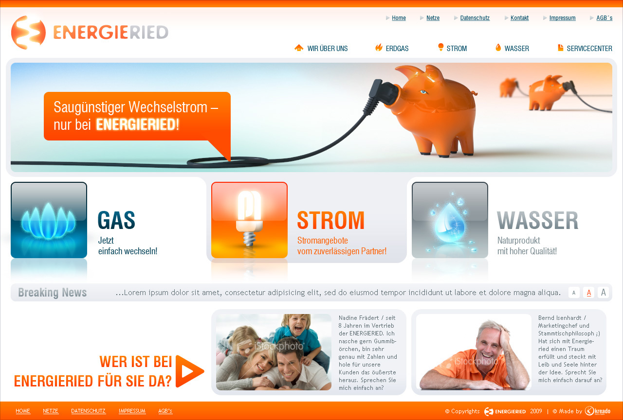 Energieried redesign, main page.