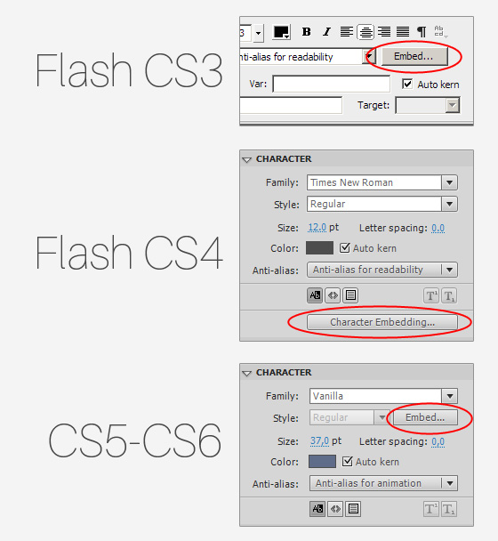 embed button in flash cs3 cs4 cs5 cs6