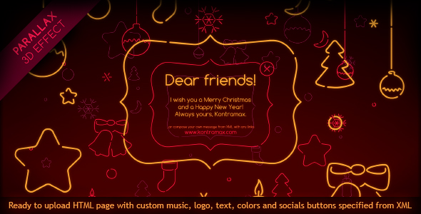Neon Christmas XML Card With 3D Parallax Effect