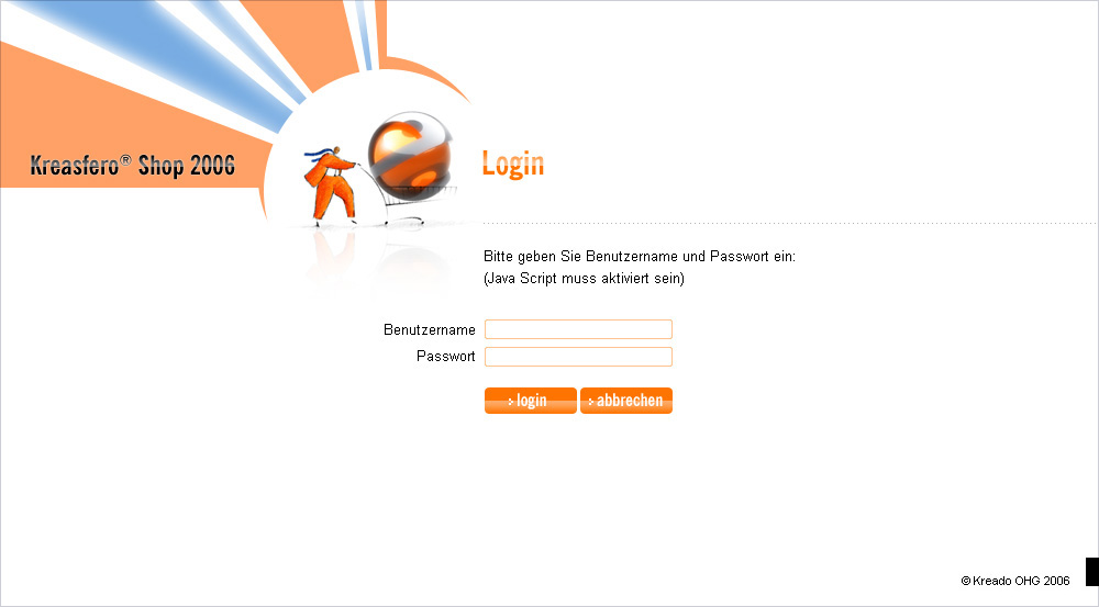 Kreasfero Shop, login page.
