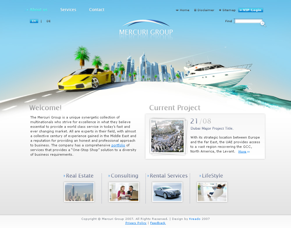 Mercuri Group, main page.