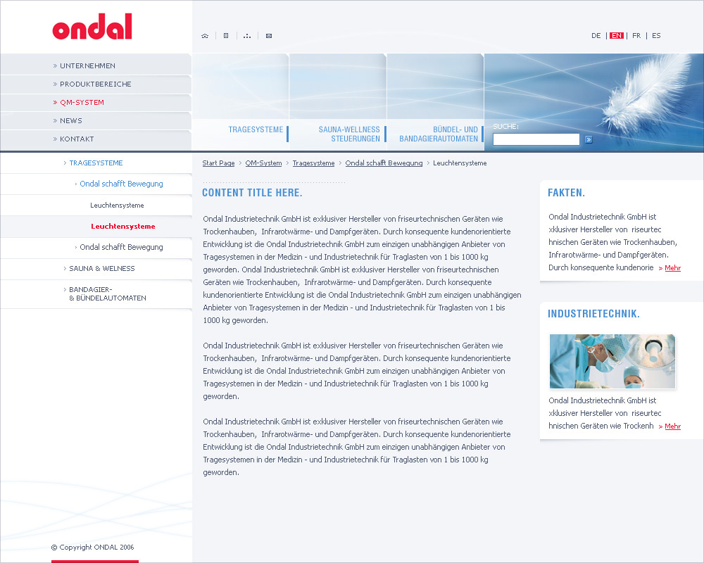 Ondal GmbH, inside page.