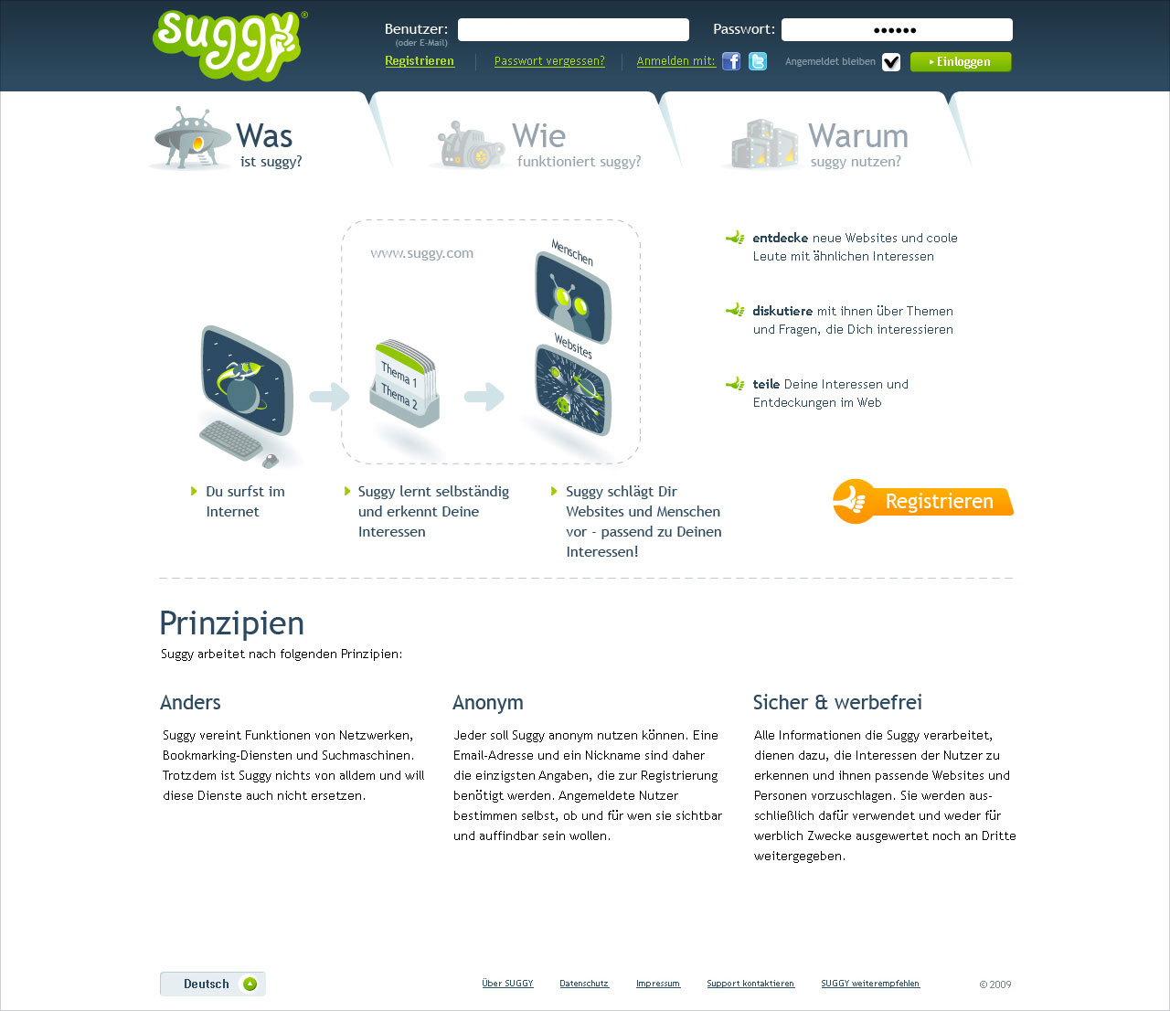 Suggy, main page.
