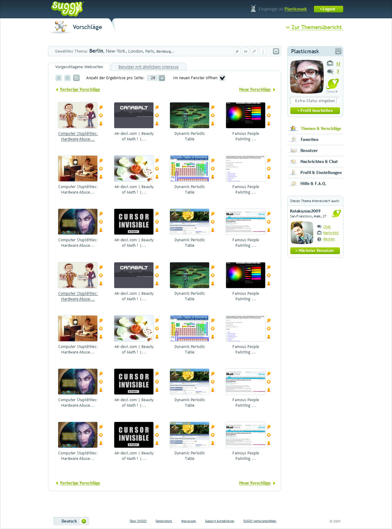 Suggy, page with websites suggestions, thumbnails mode.