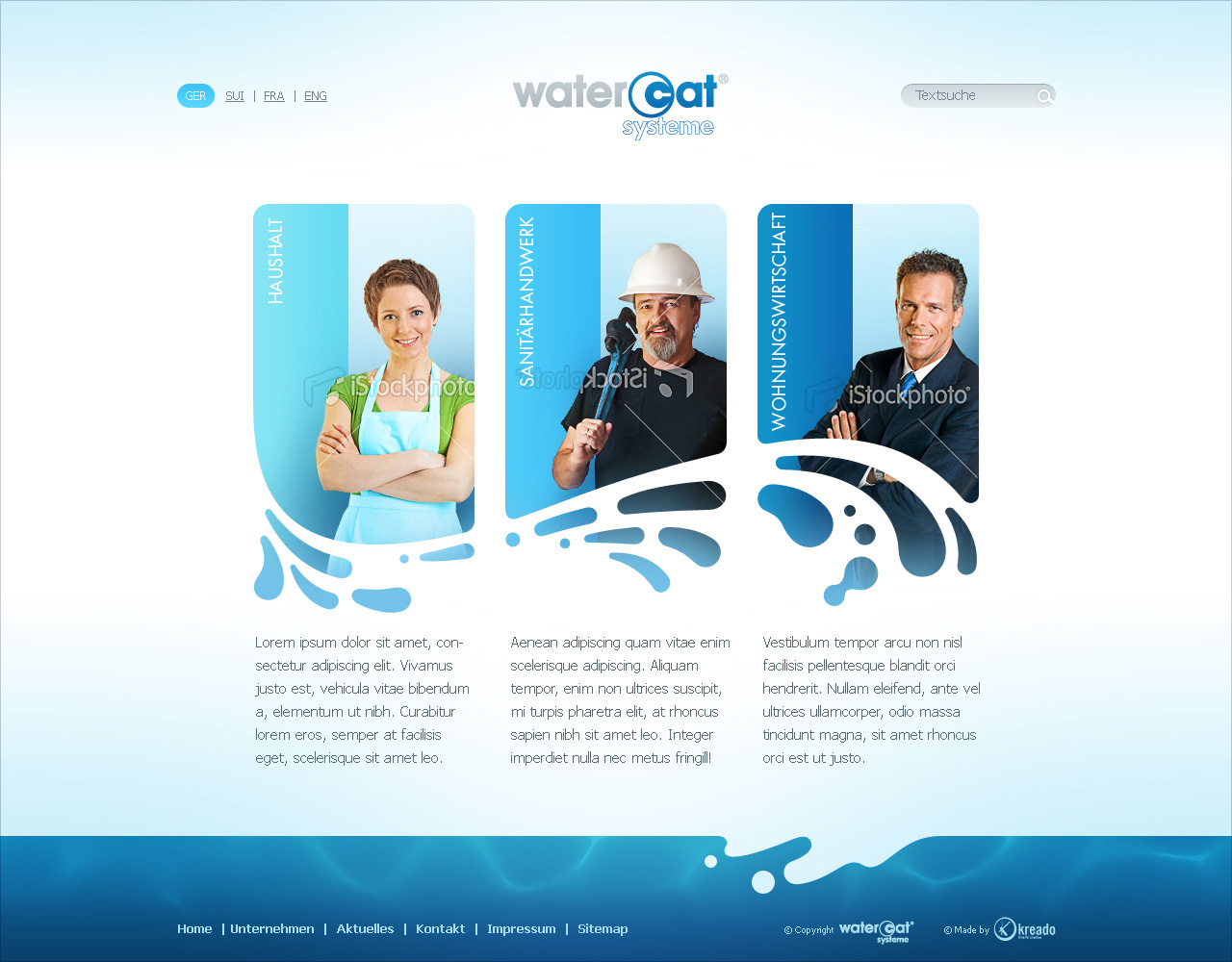 Watercat, main page.